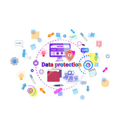 data protection online security concept protection vector image