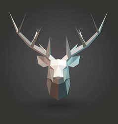 Deer low poly 3d animal shape silhouette white vector