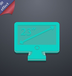 Diagonal of the monitor 23 inches icon symbol 3D vector