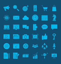 Digital marketing glyph web icons vector