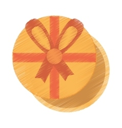 drawing gift box round with red bow ribbon vector image