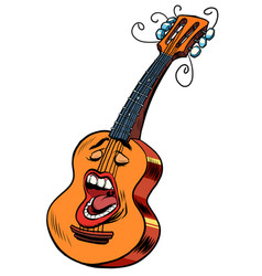 emoji character emotion acoustic guitar musical vector image