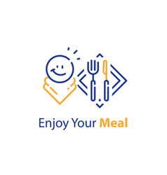 Enjoy your meal eating at restaurant vector