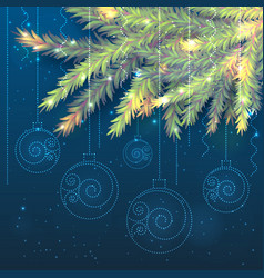 fir tree branches and shining christmas balls vector image
