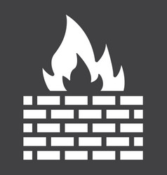 firewall solid icon security and brick wall vector image