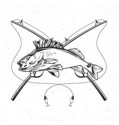 fish with two fishing rods vector image