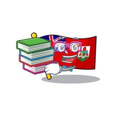 Flag bermuda cartoon student bring book on vector