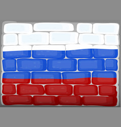 flag of russia painted on brickwall vector image