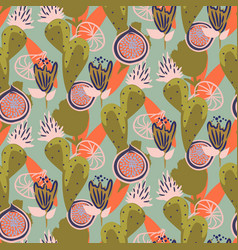 floral cacti and figs garden seamless vector image