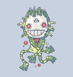 funny swamp monster creation in a mask cartoon vector image