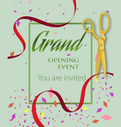 Grand opening event you are invited lettering vector
