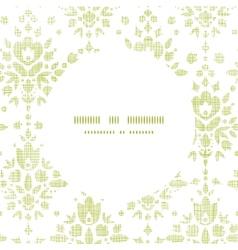 Green textile damask flower round frame seamless vector