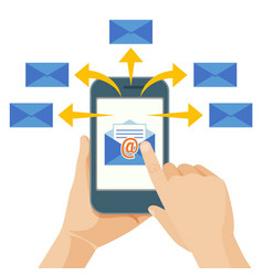 hand sending commercial message from mobile phone vector image
