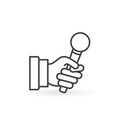 Hand with microphone minimal icon in vector