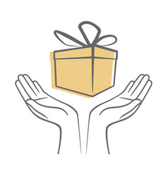 hands holding a gift box with ribbon and bow vector image