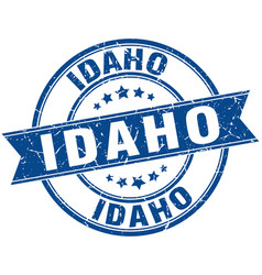Idaho blue round grunge vintage ribbon stamp vector