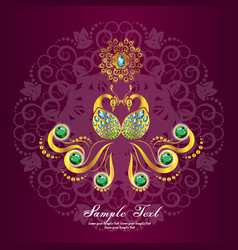 Indian wedding card or invitations with mandala vector