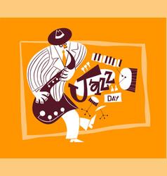 Jazz day retro cartoon band saxophone man card vector