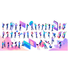 Large set isometric teenagers in bright clothes vector