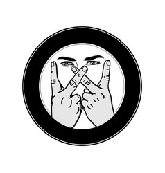 letter w hand gesture outline image vector image
