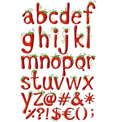 Letters alphabet in strawberry template vector