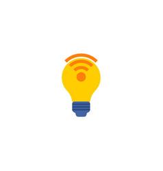 lightbulb wifi icon flat element vector image