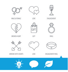 love heart gift box and wedding ring icons vector image