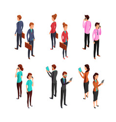 Man and woman businessman isometric 3d standing vector
