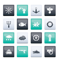 Marine and sea icons over color background vector
