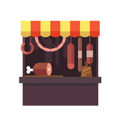 meat shop stall with meats products vector image