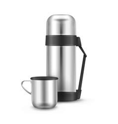 Metal thermos flask vector