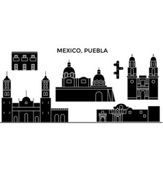Mexico puebla architecture urban skyline with vector