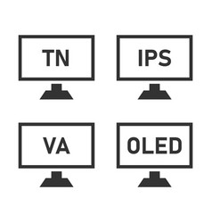 monitor matrix icon set types lcd matrices vector image