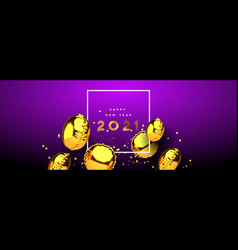 new year 2021 gold 3d party balloon banner vector image