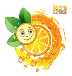 Orange slices with leafs and a smiley face vector image