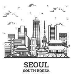 Outline seoul south korea city skyline vector