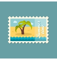 Palm tree stamp Summer Vacation vector image