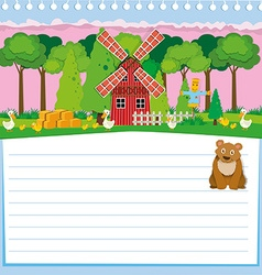 Paper design with bear and farm vector