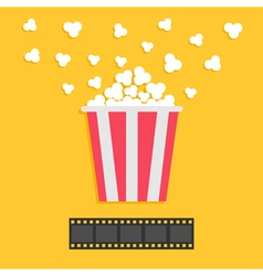 Popcorn popping Film strip Red yellow box Cinema vector image