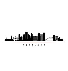 Portland city skyline horizontal banner vector