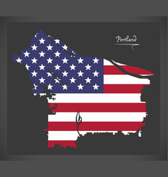 Portland oregon map with american national flag vector