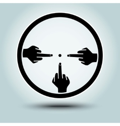 Round sight with crosshairs of hands vector