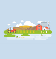 Rural landscape with farm building vector
