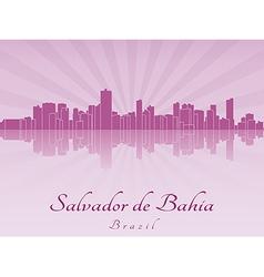 Salvador de Bahia skyline in purple radiant orchid vector image