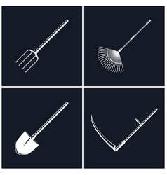 set of agricultural tools on black background vector image