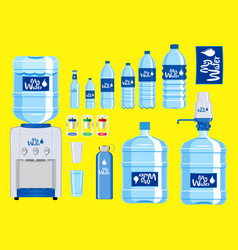 set of plastic water bottle vector image