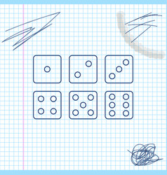 set six dices line sketch icon isolated on vector image