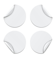 set white round paper stickers vector image