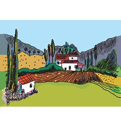 Sketch of the landscape with the farm vector image