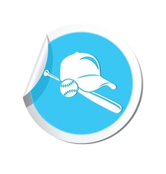 Sticker with baseball icon vector